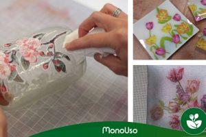Como decorar o vidro com guardanapos de papel